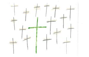 Crosses that continue to be carried and lead to death.